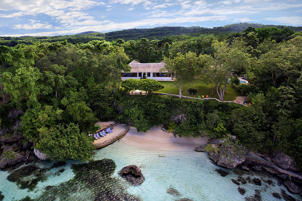 An aerial view of the Fleming Villa at GoldenEye in Oracabessa, Jamaica