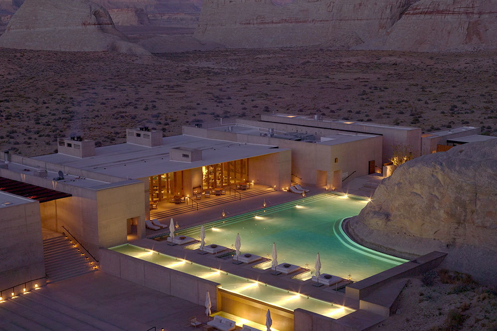 Aerial view of pool at Amangiri in Canyon Point, Utah
