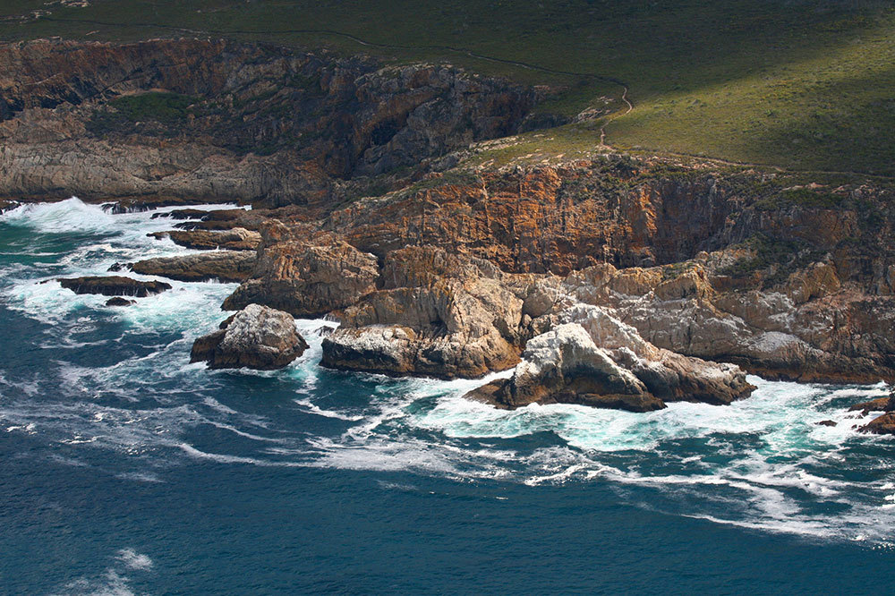 Aerial view of the Tsitsikamma cliffs in Garden Route National Park near Plettenberg Bay