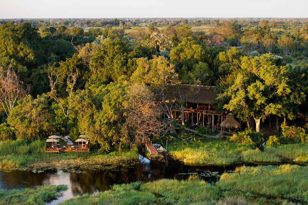 An aerial view of Jao Camp in Botswana, Africa