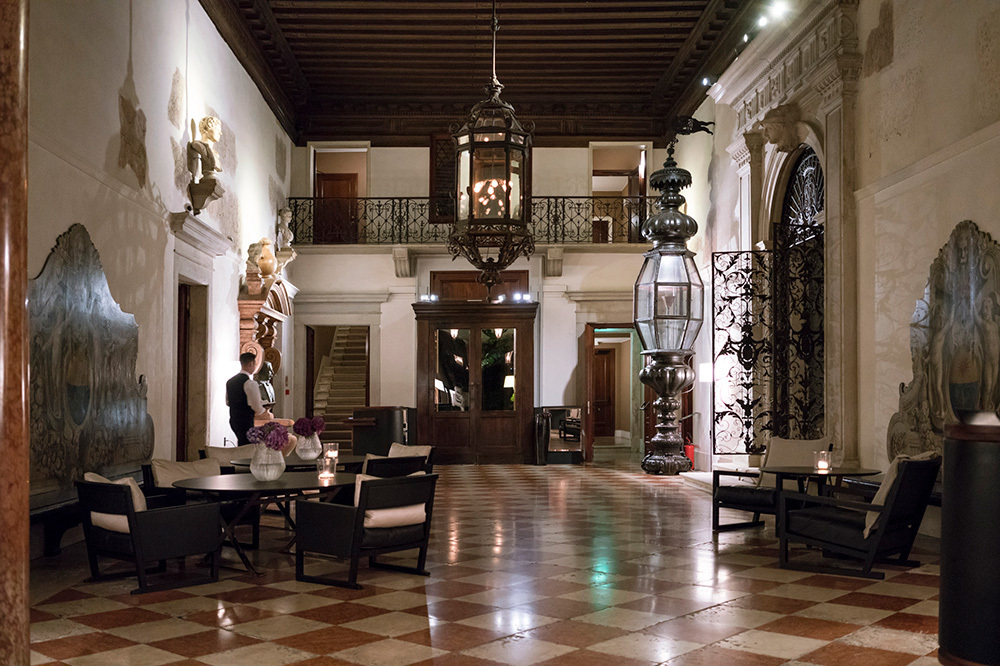The lobby of Aman Venice in Venice, Italy