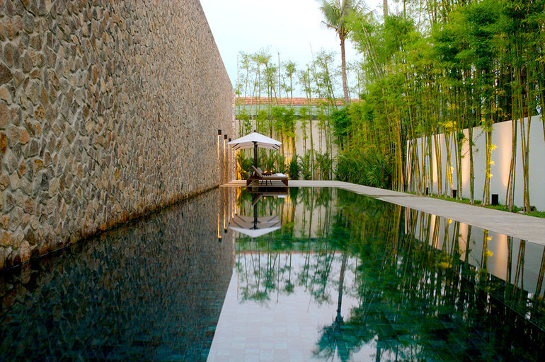 The lap pool at Amansara in Siem Reap, Cambodia