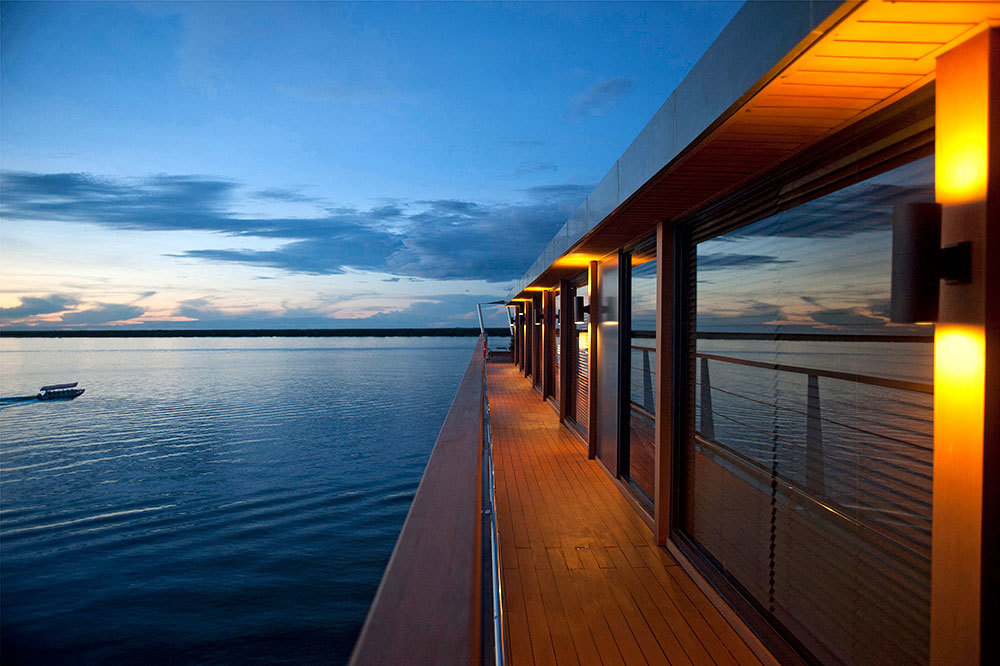The observation deck on the Aqua Mekong Cruise in Cambodia