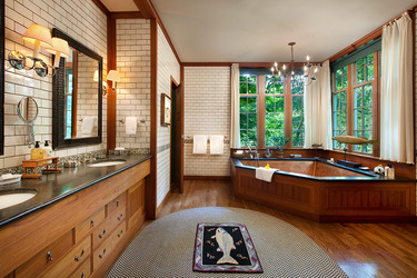 The bath of the Perch Cottage at Twin Farms in Barnard, Vermont