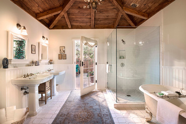The bath of a French Lavender Cottage at San Ysidro Ranch in Santa Barbara, California
