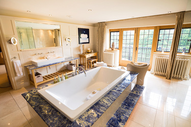 The bath of a spa suite at Gidleigh Park in Chagford, Devon, England