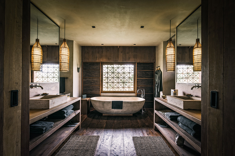 The bath of a villa at Phum Baitang in Siem Reap, Cambodia
