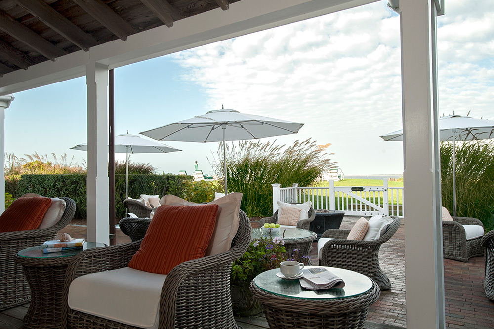 The bay view terrace of Topper's restaurant at The Wauwinet in Nantucket, Massachusetts