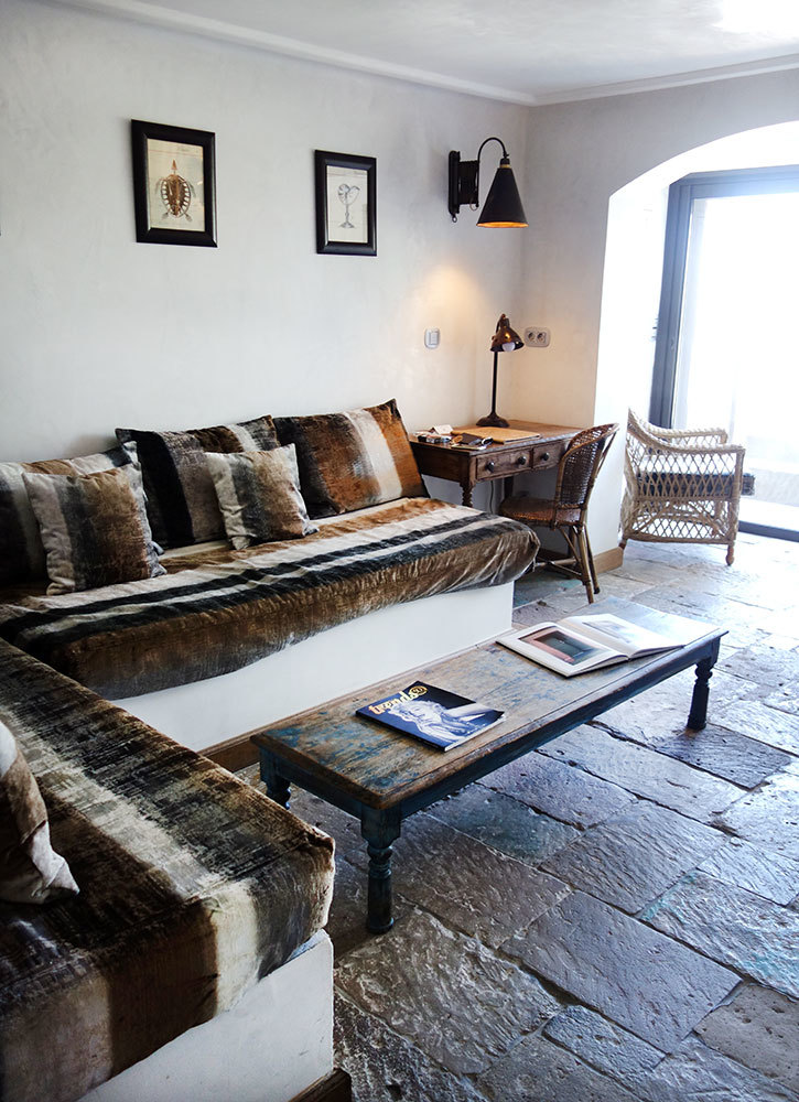 The seating area of a suite at U Capu Biancu in Bonifacio, Corsica, France
