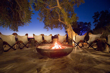 A bonfire at Duba Plains Camp in Duba Plains Reserve, Botswana