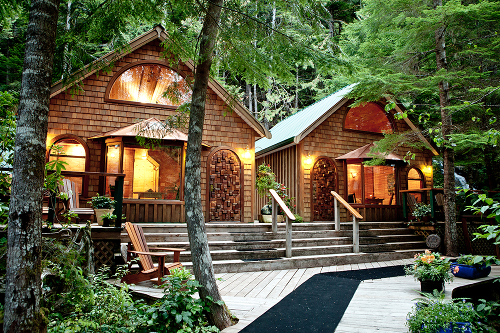 Exterior of the cabins at Nimmo Bay Resort in British Columbia, Canada.