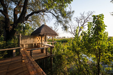 Deck looking out into the safari at Jao Camp in Botswana, Africa