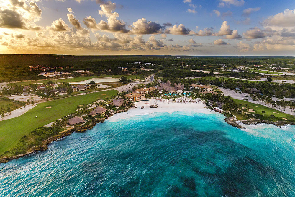 An aerial view of Eden Roc Beach Club at Eden Roc at Cap Cana