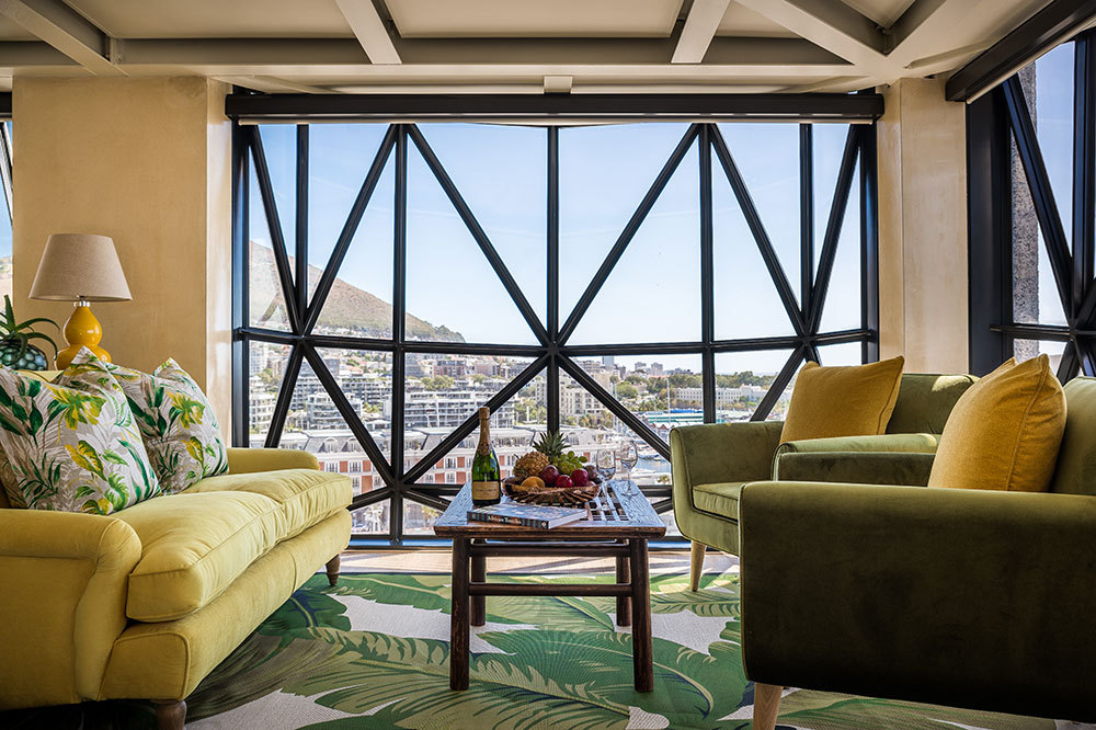 The lounge of the Family Suite at The Silo in Cape Town, South Africa