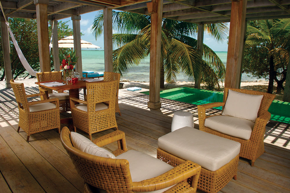 Open air lobby at Cayo Espanto in Belize