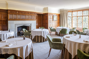 The restaurant at Gidleigh Park in Chagford, Devon, England
