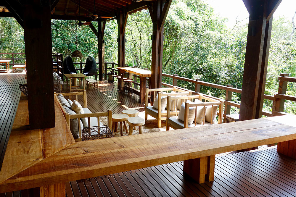 On the deck of Awasi Iguazú in Misiónes, Argentina