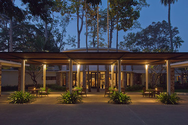 Dining room terrace at dusk at Amansara in Cambodia