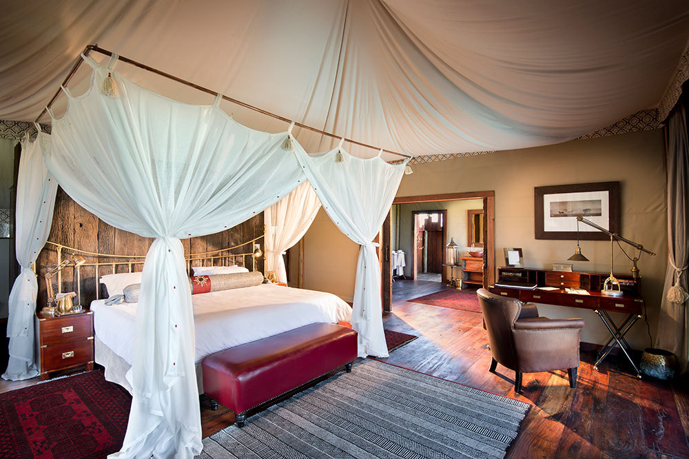 The interior of a guest tent at Duba Plains Camp in Duba Plains Reserve, Botswana