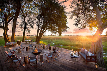 The central deck of the main area at Duba Plains Camp in Duba Plains Reserve, Botswana