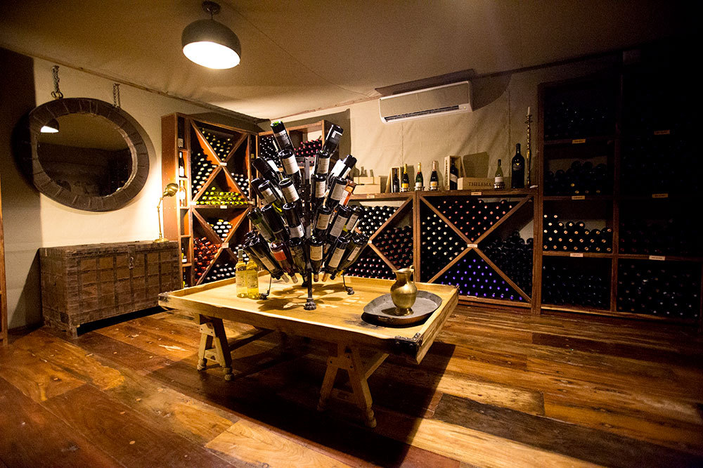 The wine cellar in the main area at Duba Plains Camp in Duba Plains Reserve, Botswana