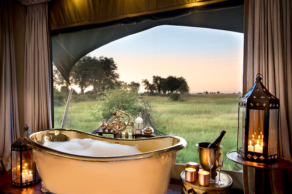 The view from the bath of a guest tent at Duba Plains Camp in Duba Plains Reserve, Botswana
