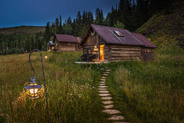 Forge Cabin at dusk at Dunton Hot Springs in Dolores, Colorado