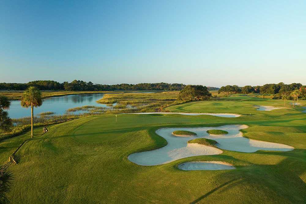 The 18th hole of the golf course at The Sanctuary at Kiawah Island on Kiawah Island