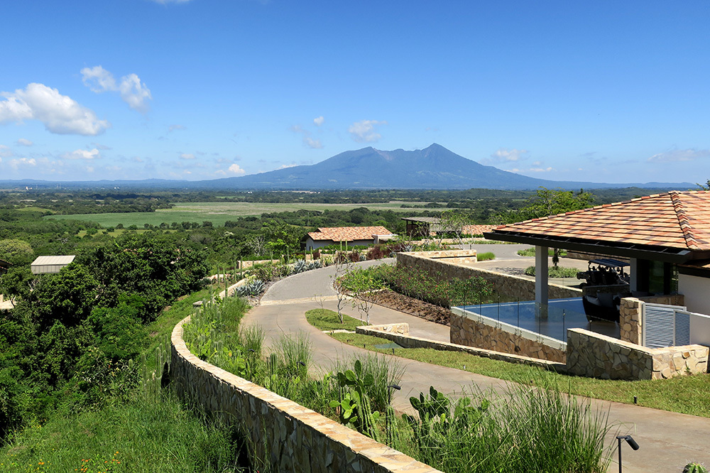 The exterior of Nekupe and a view of Mombacho Volcano in Nandaime, Nicaragua