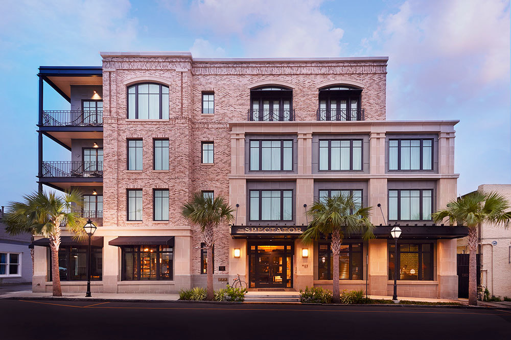 The exterior of The Spectator Hotel in Charleston, South Carolina.