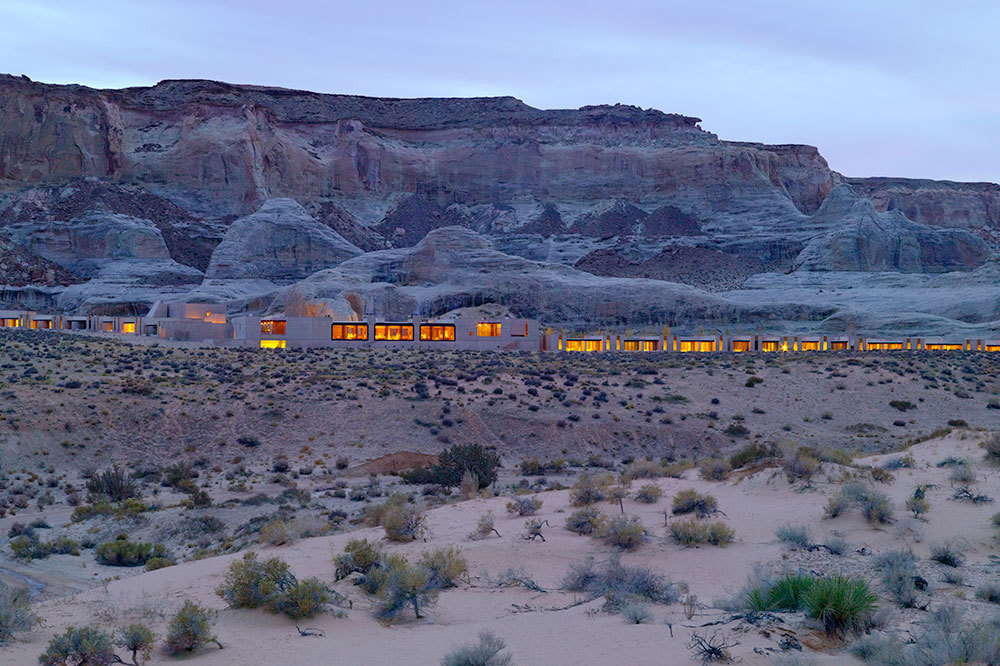 Exterior view at dusk of Amangiri in Canyon Point, Utah
