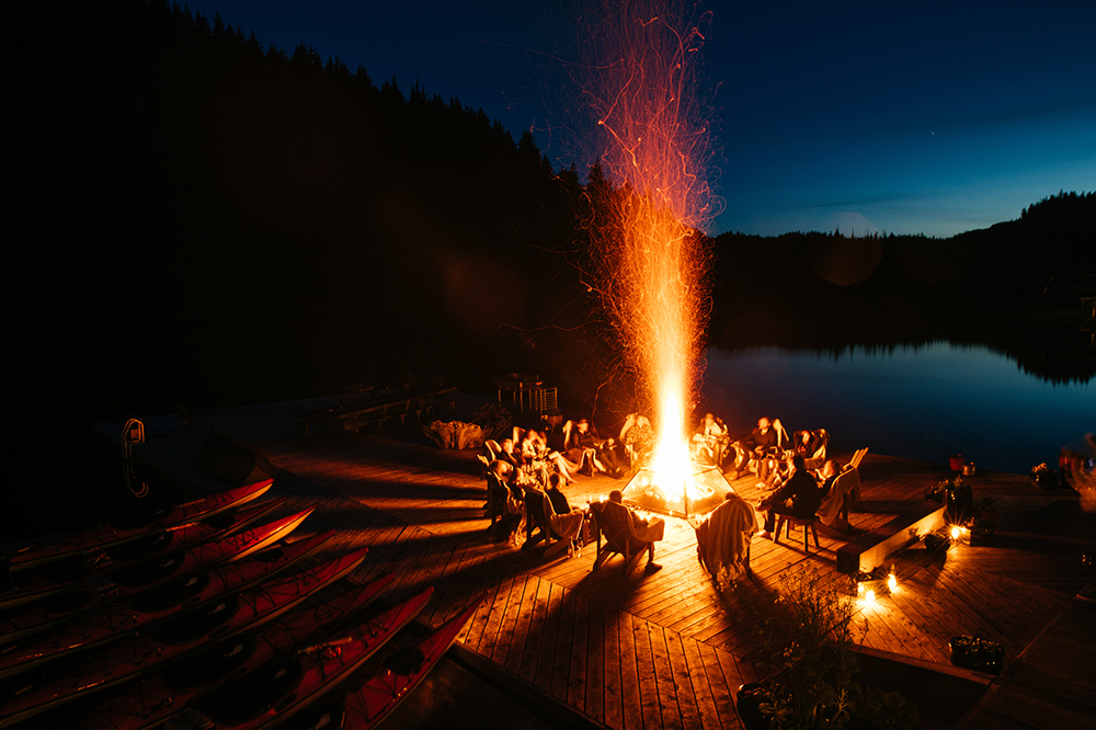 The fire pit on the dock at Nimmo Bay Resort in British Columbia, Canada.