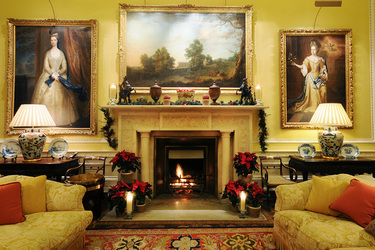 A fireplace decorated for Christmas at Ballyfin Demesne in Ballyfin, Ireland