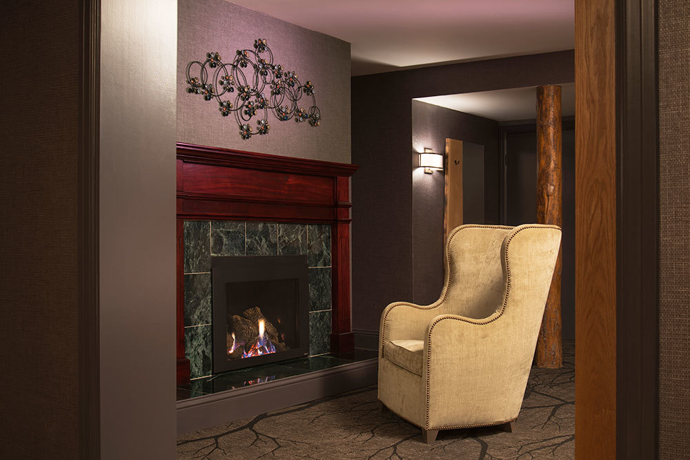 The fireplace in the Fireside Suite at the Shore Lodge in McCall, Idaho.