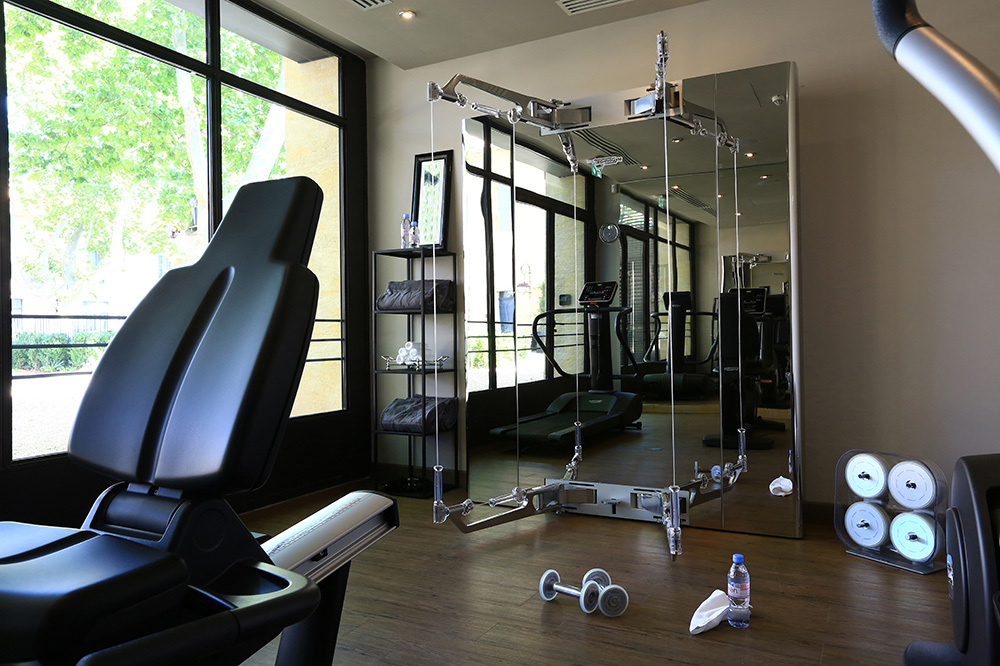 The fitness center at Domaine de Manville in Le Baux-de-Provence, France