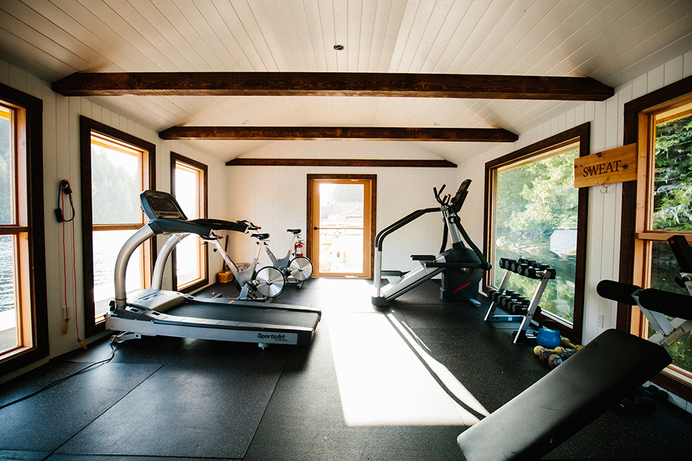 The fitness center at Nimmo Bay Resort in British Columbia, Canada.