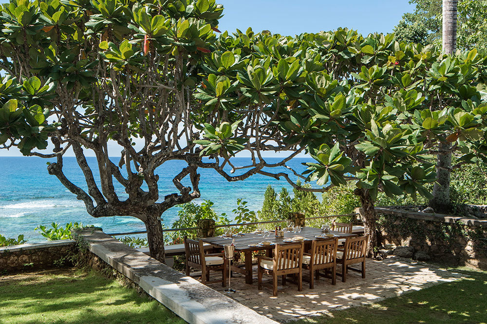 The private dining area of the Fleming Villa at GoldenEye in Oracabessa, Jamaica