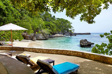 The private beach of the Fleming Villa at GoldenEye in Oracabessa, Jamaica