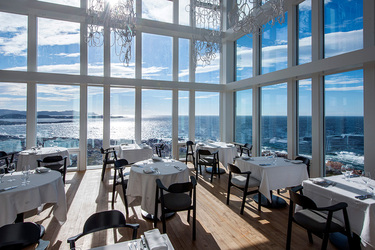 The restaurant at Fogo Island Inn on Fogo Island, Newfoundland, Canada