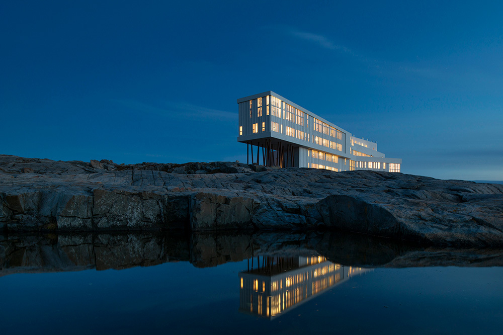 The exterior of Fogo Island Inn on Fogo Island, Newfoundland, Canada