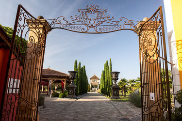 The park entry gates at George Blanc Parc & Spa in Beaujolais, Francelais