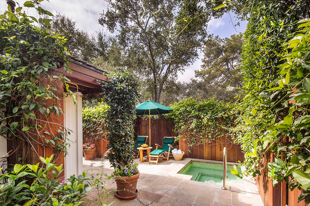 The patio of a French Lavender Cottage at San Ysidro Ranch in Santa Barbara, California