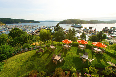 The view from the restaurant and outdoor seating at Friday Harbor House in Friday Harbor, Washington