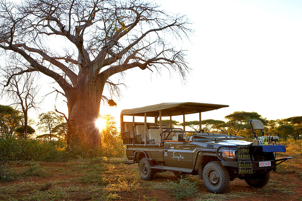 Game drive vehicle at Singita Pamushana Lodge in Malilangwe Wildlife Reserve, Africa