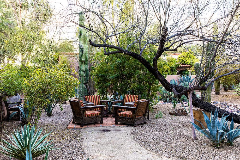 An outdoor patio at Hermosa Inn in Paradise Valley, Arizona