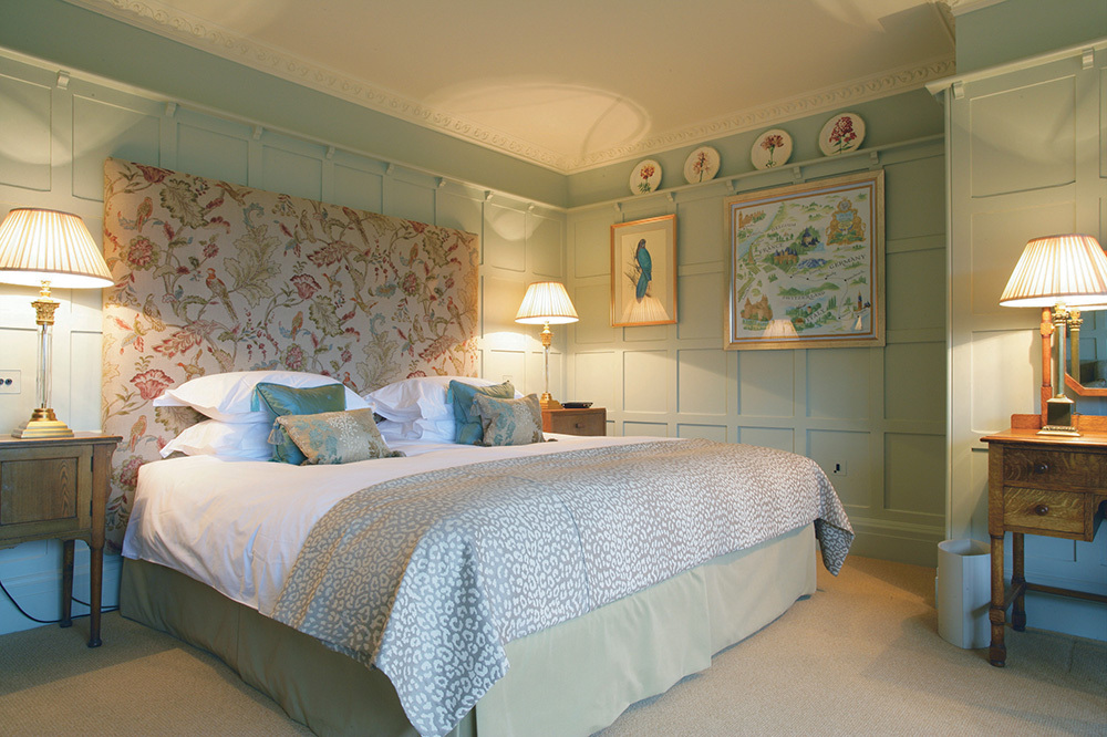 A master bedroom at Gidleigh Park in Chagford, Devon, England