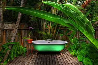 The bath of the Fleming Villa at GoldenEye in Oracabessa, Jamaica