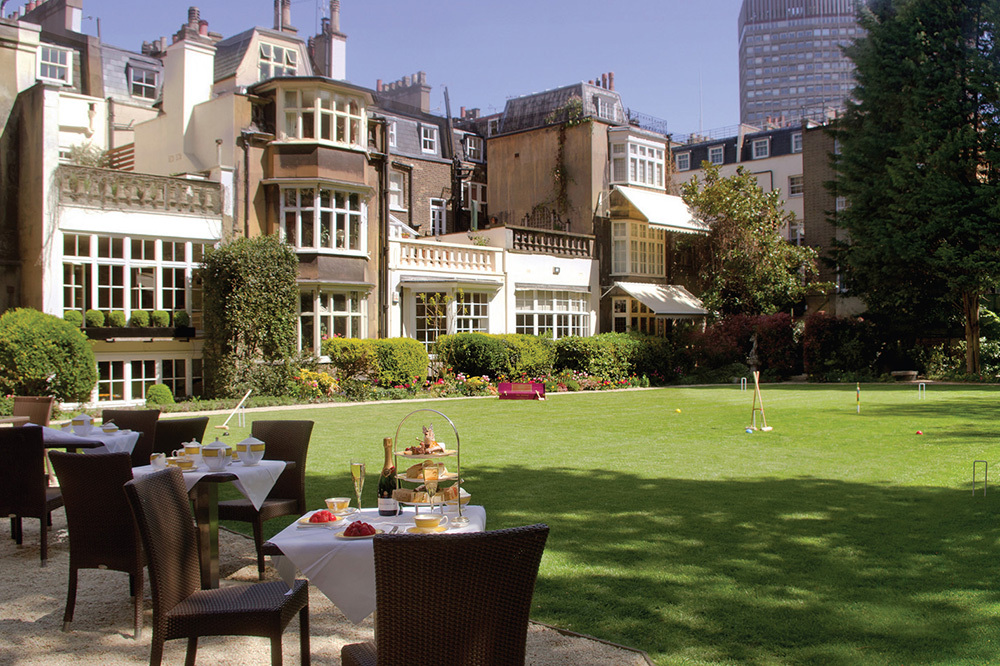 The Goring Hotel and gardens at The Goring in London, England