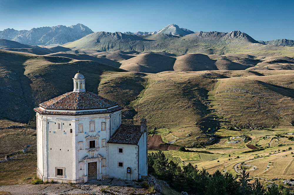 Church of Santa Maria della Pietà, built in the 16th century, in the mountains of Gran Sasso and Monti della Laga National Park in Abruzzo, Italy