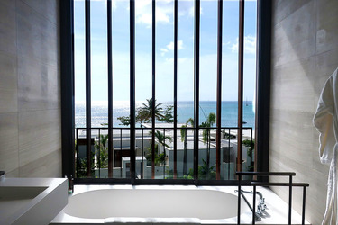 The tub in the bath of our Penthouse Level King room at Silversands in Grand Anse Beach, Grenada.